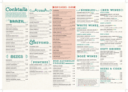 Drinks Menu - Las Iguanas
