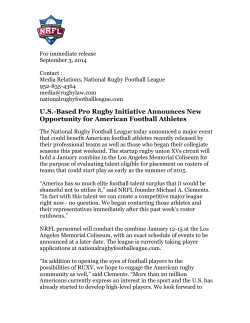 press release - The National Rugby Football League