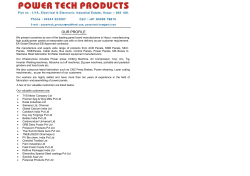 OUR PROFILE - Power Tech Products | Hosur