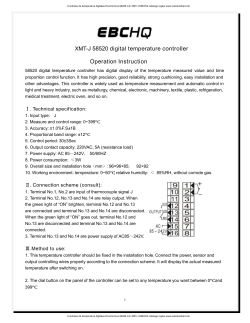 XMT-J 58520 digital temperature controller Operation