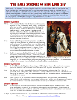 The Daily Schedule of King Louis XIV