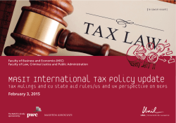 MASIT International Tax Policy Update - HEC