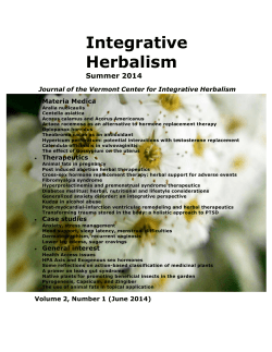 (June 2014) (pdf) - Vermont Center for Integrative Herbalism