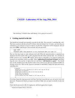 CS3235 - Laboratory #1 for Aug 29th, 2014