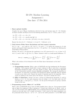 E0 270- Machine Learning Assignment 1 Due date: 17 Feb 2014