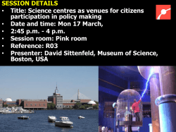 Science centres as venues for citizen sparticipation in