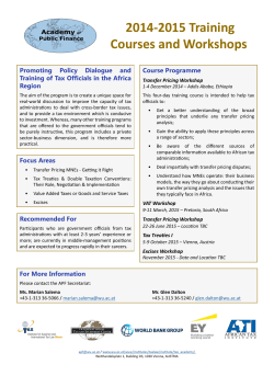 2014-2015 Training Courses and Workshops