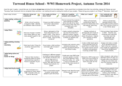 Torwood House School - WWI Homework Project, Autumn Term 2014