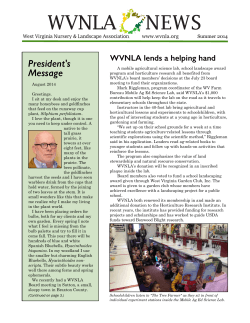 Summer 2014 - West Virginia Nursery and Landscape Association