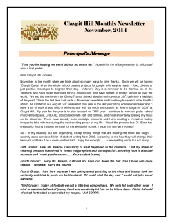 Claypit Hill Monthly Newsletter November, 2014