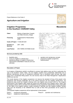 Irrigation Programme in the Southern VARDAR Valley, Macedonia