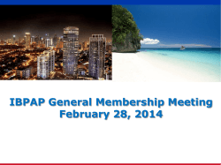 IBPAP General Membership Meeting February 28, 2014