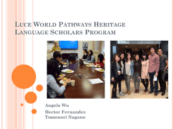 Luce World Pathways Heritage Language Scholars Program