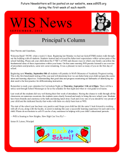 WIS September 2014 Newsletter