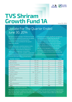 Newsletter 1A - Aug2014 - TVS Capital Funds Limited