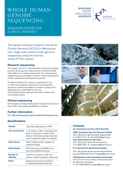 WGS information sheet - Garvan Institute of Medical Research
