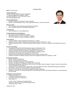 Curriculum Vitae Name: TOH Wei Seong Contact Information