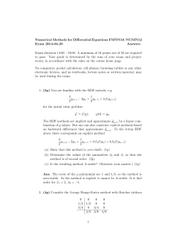 Numerical Methods for Differential Equations FMNN10/NUMN12