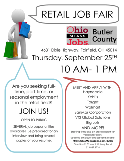10 AM- 1 PM RETAIL JOB FAIR - Workforce One of Butler County
