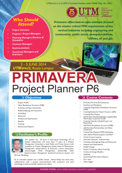 Project Planner P6 Project Planner P6