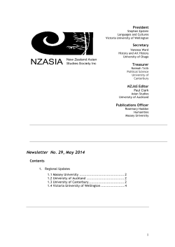 NZASIA Newsletter #29, May 2014