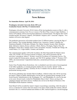 Commencement 2014 - Press Release
