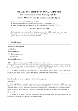 OBSERVING TIME PROPOSAL FORM 2014 for the Vacuum Tower