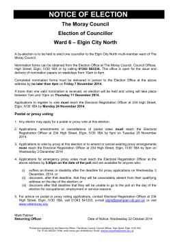 NOTICE OF ELECTION - The Moray Council