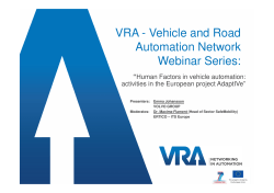 VRA - Vehicle and Road Automation Network Webinar Series: