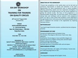 six-day workshop on training for trainers on quality circles
