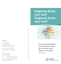 Diagnose Krebs – was nun? Diagnose Krebs – was tun!!! - Bayern