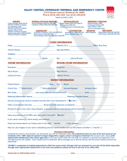 Client Registration Form - Valley Central Veterinary Referral and