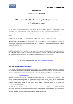 PRESS RELEASE Paris and London, 2 April 2014 SPTEC Advisory