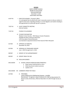 12-4-14 Agenda Page 1 REVISED NORTH SHORE SCHOOLS