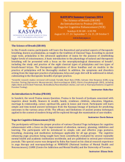 KASYAPA Summer Courses 2014 The Science of