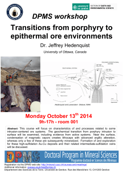 Transitions from porphyry to epithermal ore environments Monday