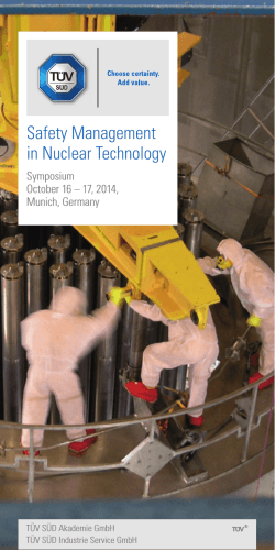 Safety Management in Nuclear Technology - TÜV Süd