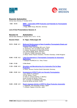 Keynote Automotive List of Oral Presentations Session A - ITHEC