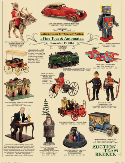 Fine Toys & Automata« November 15, 2014 - Auction Team Breker