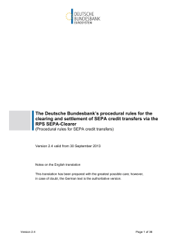 Procedural rules for SEPA credit transfers