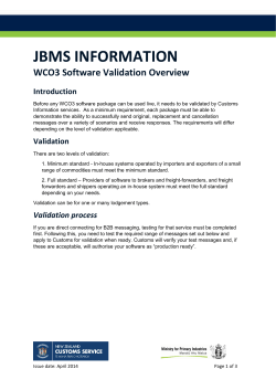 WCO3 Software Validation Overview