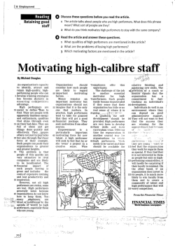 Motivating high-calibre staff