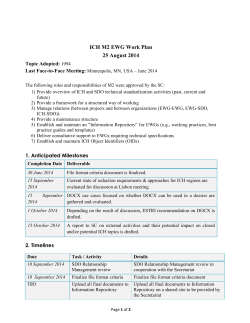 ICH M2 EWG Work Plan 25 August 2014