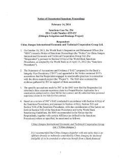 Notice of Uncontested Sanctions Proceedings February 14, 2014