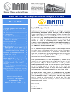 NAMI San Fernando Valley/Santa Clarita Valley Fall 2014 Issue