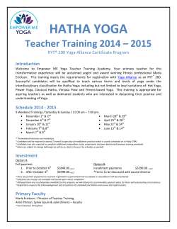 HATHA YOGA Teacher Training 2014 – 2015