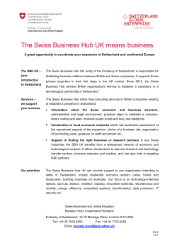 The Swiss Business Hub UK means business - EDA