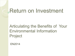 Return on Investment Return on Investment