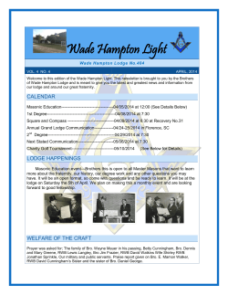 April 2014 - Wade Hampton Lodge No.404