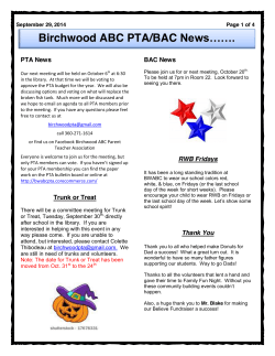 Birchwood ABC PTA/BAC News…….